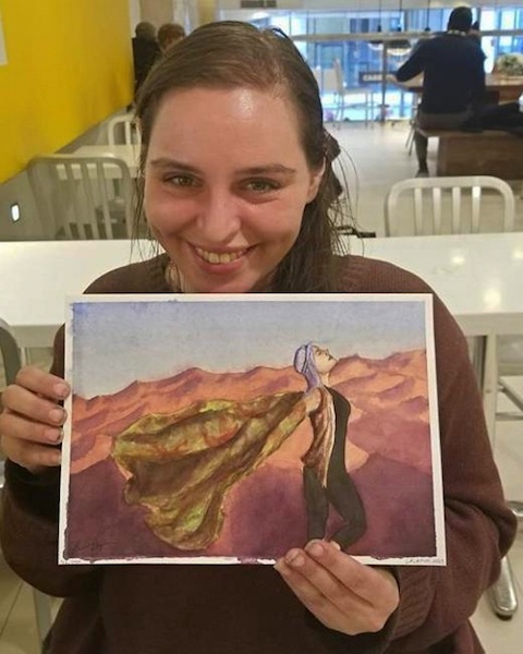 Laura D teaching watercolors at a homeless shelter  (Courtesy of Laura D)
